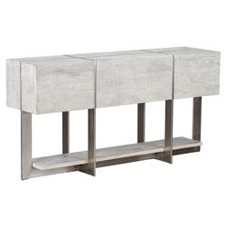 Felix Rustic Lodge Iron Inlaid Rectangular Grey Wash Console Table
