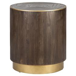 Hugo Rustic Lodge Brass Accented Brown Elm Round Plinth Side End Table
