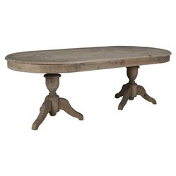 Jake Rustic Lodge Distressed Grey Solid Pine Oval Dining Table