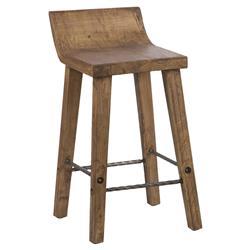James Rustic Lodge Brown Reclaimed Elm Wood Low Back Counter Stool