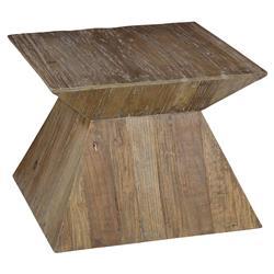Maximilian Rustic Lodge Angular Square Brown Distressed Elm Coffee Table