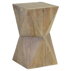 Roman Rustic Lodge Geometric Distressed Brown Solid Elm Side End Table