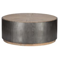 Zain Rustic Lodge Radial Top Elm Black Banded Round Coffee Table