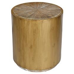Zain Rustic Lodge Radial Top Elm Brass Banded Round Side End Table