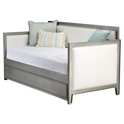 Alaia Modern White Faux Leather Upholstered Grey Iron Nailhead Trundle Daybed