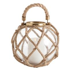 Cormac Cottage Small Jute Coastal Beach Glass Globe Candle Lantern | ART-6989