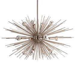 Sunburst Polished Nickel Mid Century Industrial Sputnik Chandelier - 29D