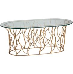 Alden Iron Polished Glass Gold Leaf Coffee Table