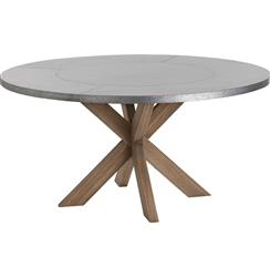 Halton Industrial Loft Galvanized Iron Wood Circular Dining Table | ART-2415