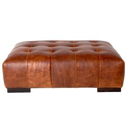 Cisco Brothers Arden Modern Classic Brown Leather Tufted Rectangular Ottoman