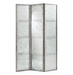 Annabelle Antiqued Hollywood Regency Silver Mirrored Room Screen | ART-2156