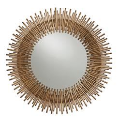 Arteriors Prescott Antiqued Gold Leaf Sunburst Round Iron Wall Mirror