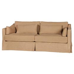 Cisco Brothers Rebecca Modern Classic Brown Linen Slipcovered Sofa - 84 inch