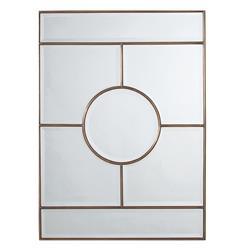 Arteriors Bronsan Vintage Brass Geometric Paneled Beveled Mirror
