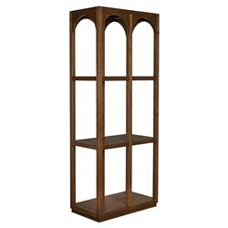 Noir Arco Modern Classic Brown 3 Shelf Wood Bookcase