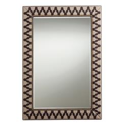 Ishtar Leather Linen Global Exotic Patterned Mirror
