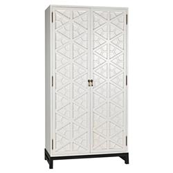 Noir Maharadshcha Global Bazaar White Wood Hexagonal Pattern Cabinet