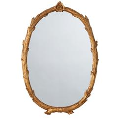 Laurel Regency Antiqued Gold Leaf Branch Flower Oval Mirror
