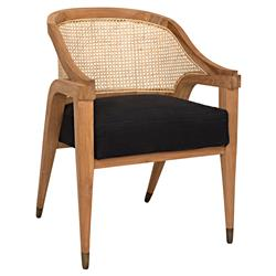 Noir Chloe Mid Century Modern Brown Cane Back Upholstered Dining Arm Chair