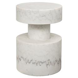 Noir Mamud Modern Classic Ivory Stone Round Top Side End Table