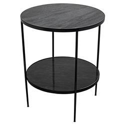 Noir Rivoli Modern Classic Black Marble Top Metal Frame Side End Table