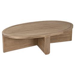 Noir Bast Modern Classic Brown Wood Oval Coffee Table