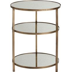Percy Tiered Contemporary Mirrored Antique Brass End Table