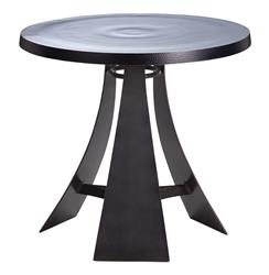 Burke Aluminum Iron Round Modern Accent End Table