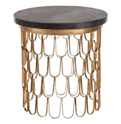 Orleans Modern Gold Leaf Iron Loop Black Marble Circular End Table