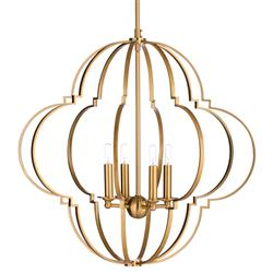 Luca Hollywood Regency Antique Brass Quatrefoil Chandelier