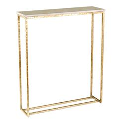 Edland Hollywood Regency Ivory Marble Antique Gold Leaf Console | 135011