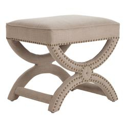 Tennyson Natural Linen Antique Brass Studded Stool Ottoman