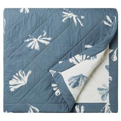Alma by Sferra Modern Alumbra Quilted Coverlet - Queen Blue Snow