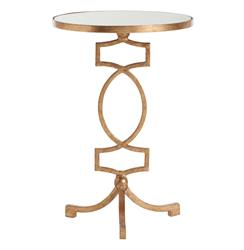 Cooper Gold Leaf Hollywood Regency Mirror Accent Side Table