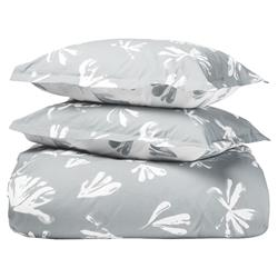 Alma by Sferra Modern Alumbra Duvet Cover Set - Queen Grey Snow