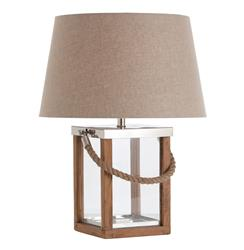 Tate Coastal Beach Rope Wood Steel Glass Table Lamp