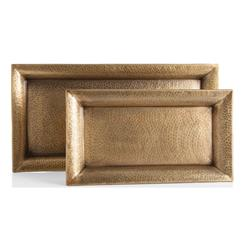 Athens Rectangle Hammered Antique Brass Iron Trays - Set of Two | ART-2246