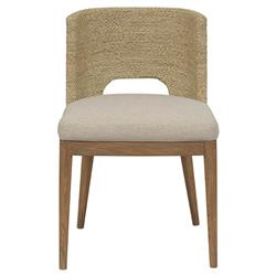 Alona Modern Classic Woven Seagrass Beige Upholstered Teak Dining Side Chair