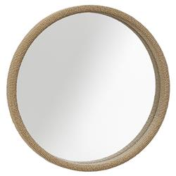 Cassandra Modern Classic Round Woven Seagrass Wall Mounted Mirror
