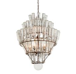 Arteriors Canton Rustic Iron Vintage Glass Bottle Chandelier