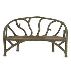 Rustic Sculpted Tree Branch Faux Bois Bench