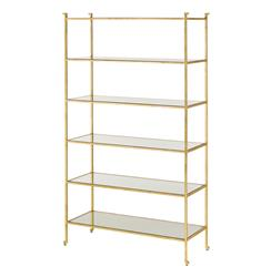 Classic Hollywood Regency Gold Leaf Etagere Display Bookcase | Kathy Kuo Home