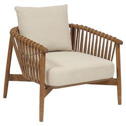Taelyn Rustic Lodge Sand Cushion Teak Living Room Armchair