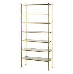 Classic Hollywood Regency Gold Leaf Tall Etagere Display Shelf | CC-4132