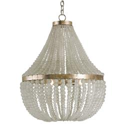 Edisto Hollywood Regency Style White Beaded Chandelier