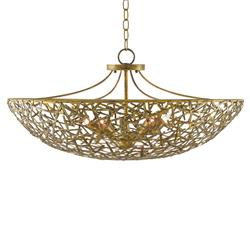 Arianna Hollywood Regency Gold Iron Bowl Chandelier