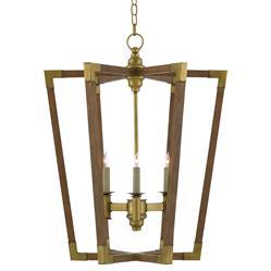 Aubrey Mid Century Modern Wood Brass Accent Lantern Pendant