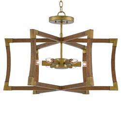 Audrey Mid Century Modern Wood Brass Accent Lantern Pendant