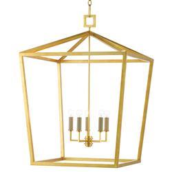 Brooklyn Hollywood Regency Gold Iron Frame Lantern Pendant
