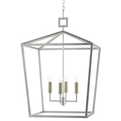 Brooklyn Hollywood Regency Silver Iron Frame Lantern Pendant
